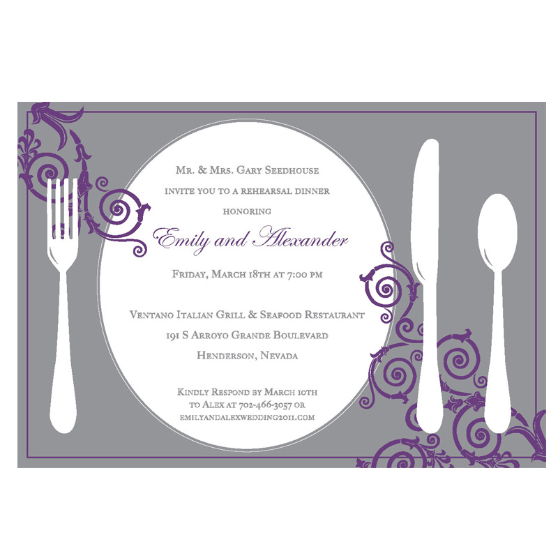 Place Setting Rehearsal Dinner Invitation