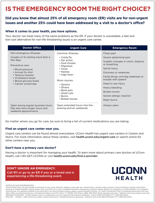 Urgent Care One Sheet